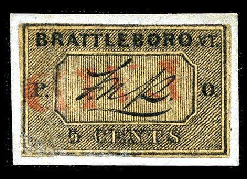 US Stamps Prices Scott Cat. 5X1: 1846 5c Brattleboro Postmasters Provisional. Matthew Bennett International, Feb 2012, Sale 340, Lot 5