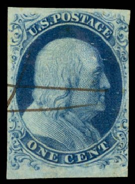 Price of US Stamp Scott # 6 - 1857 1c Franklin. Daniel Kelleher Auctions, Aug 2015, Sale 672, Lot 2120