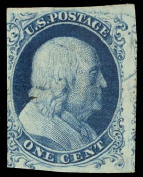 US Stamps Value Scott Catalogue 6 - 1857 1c Franklin. Daniel Kelleher Auctions, Aug 2015, Sale 672, Lot 2121