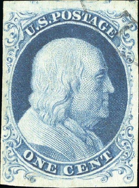 Values of US Stamps Scott Cat. # 6: 1c 1857 Franklin. Spink Shreves Galleries, Jan 2015, Sale 150, Lot 21