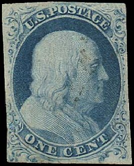 US Stamp Value Scott Cat. 6 - 1c 1857 Franklin. Regency-Superior, Aug 2015, Sale 112, Lot 52
