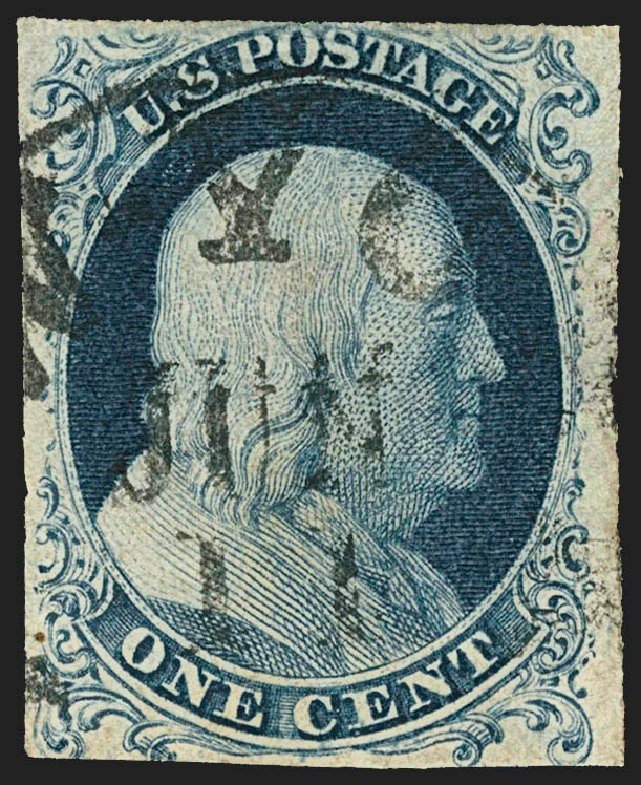 US Stamps Value Scott # 6 - 1857 1c Franklin. Robert Siegel Auction Galleries, Jul 2015, Sale 1107, Lot 53