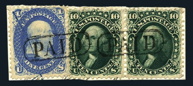 Costs of US Stamp Scott # 62B - 1861 10c Washington. Harmer-Schau Auction Galleries, Aug 2015, Sale 106, Lot 1378