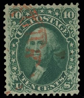 Value of US Stamp Scott Cat. 62B - 10c 1861 Washington. H.R. Harmer, May 2014, Sale 3005, Lot 1080