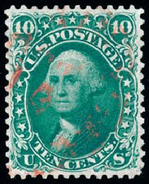 US Stamps Price Scott Catalog #62B: 1861 10c Washington. Schuyler J. Rumsey Philatelic Auctions, Apr 2015, Sale 60, Lot 2014