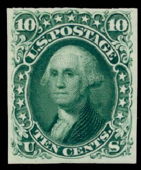 Value of US Stamp Scott #62B - 10c 1861 Washington. Daniel Kelleher Auctions, Sep 2014, Sale 655, Lot 205