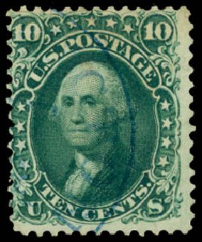 Price of US Stamps Scott Catalogue 62B - 1861 10c Washington. Daniel Kelleher Auctions, Sep 2014, Sale 655, Lot 206