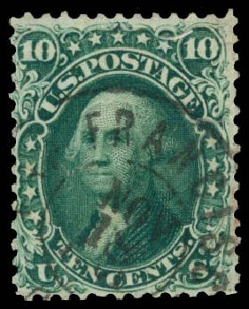 Cost of US Stamp Scott Catalog 62B: 10c 1861 Washington. Daniel Kelleher Auctions, Oct 2014, Sale 660, Lot 2076