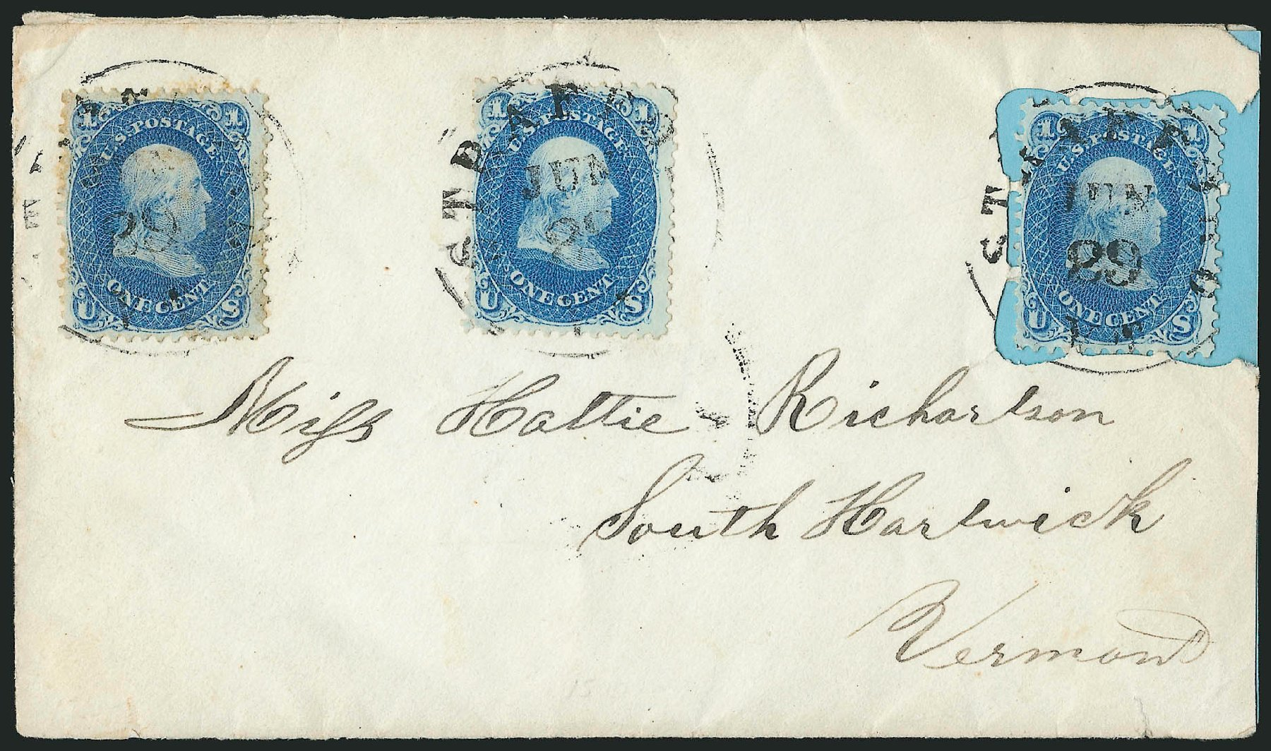 US Stamps Prices Scott Catalogue #63 - 1c 1861 Franklin. Robert Siegel Auction Galleries, Jun 2015, Sale 1105, Lot 2587