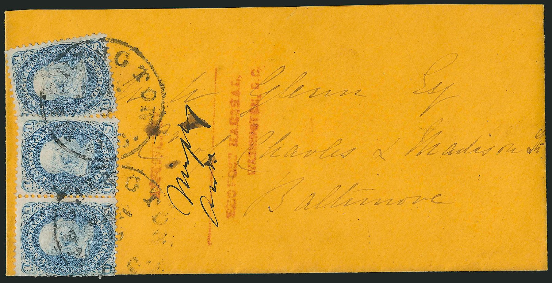 Costs of US Stamps Scott Cat. 63 - 1861 1c Franklin. Robert Siegel Auction Galleries, Jun 2015, Sale 1105, Lot 2578