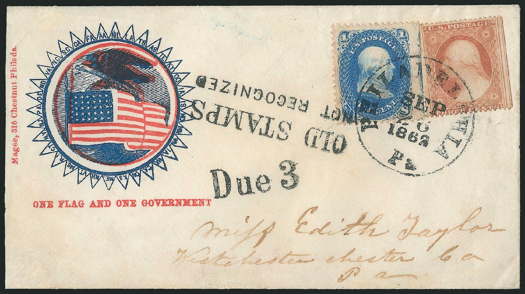 US Stamps Price Scott Catalogue # 63: 1c 1861 Franklin. Robert Siegel Auction Galleries, Jun 2015, Sale 1105, Lot 2569