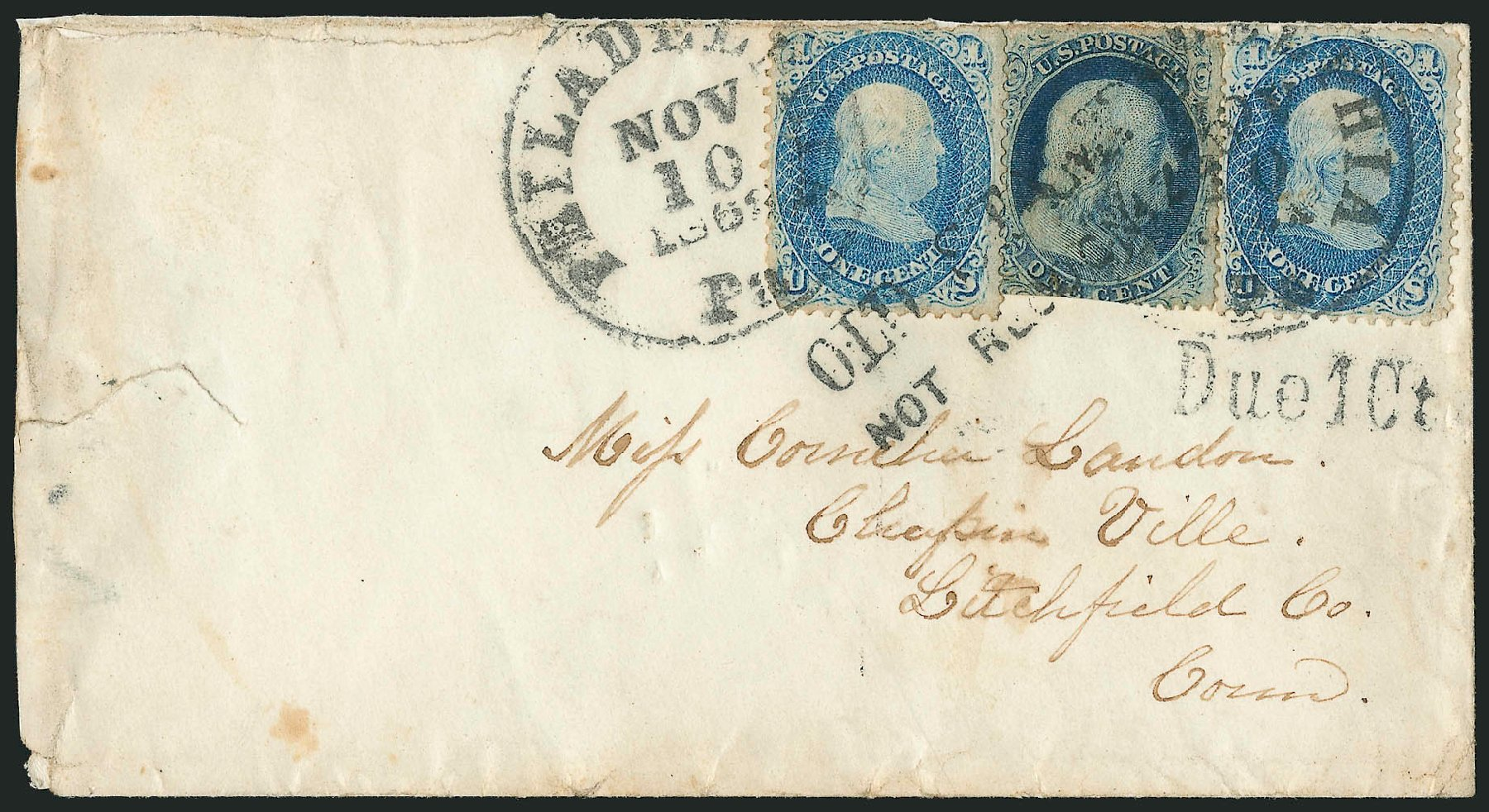 US Stamps Values Scott Cat. 63 - 1861 1c Franklin. Robert Siegel Auction Galleries, Jun 2015, Sale 1105, Lot 2570