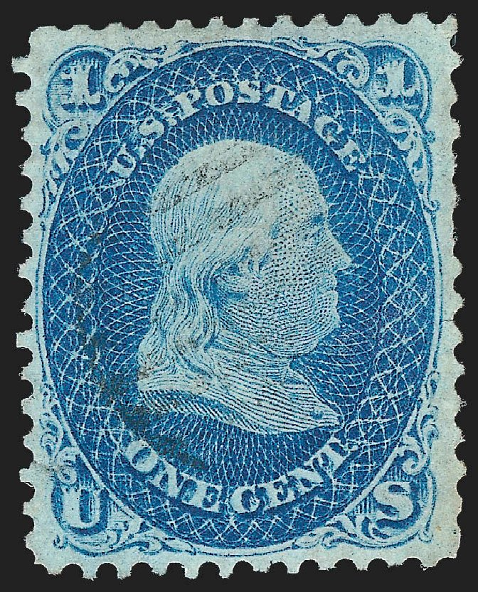 Value of US Stamp Scott #63: 1861 1c Franklin. Robert Siegel Auction Galleries, Jul 2015, Sale 1107, Lot 120