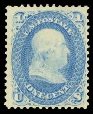 Value of US Stamp Scott Catalog 63: 1c 1861 Franklin. Daniel Kelleher Auctions, May 2015, Sale 669, Lot 2491