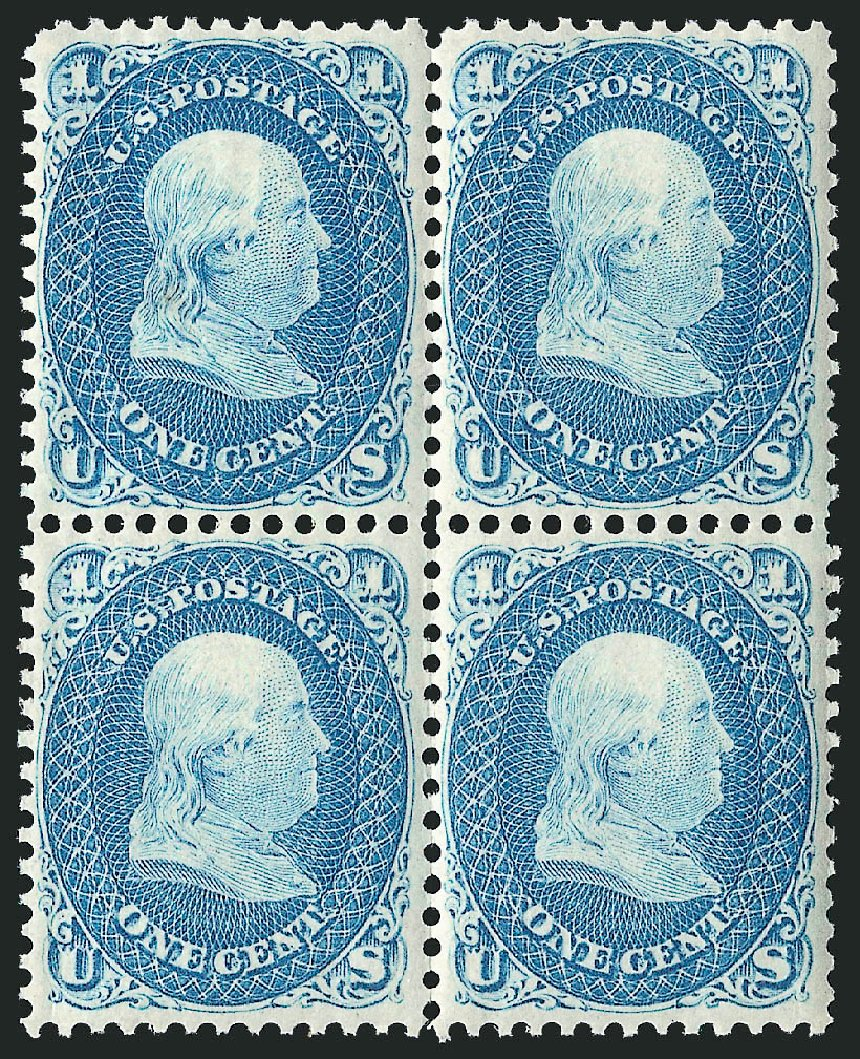 US Stamp Price Scott Catalog #63 - 1c 1861 Franklin. Robert Siegel Auction Galleries, Apr 2015, Sale 1096, Lot 116