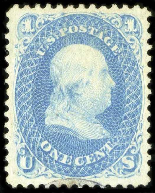US Stamp Values Scott #63: 1861 1c Franklin. Spink Shreves Galleries, Jul 2015, Sale 151, Lot 66