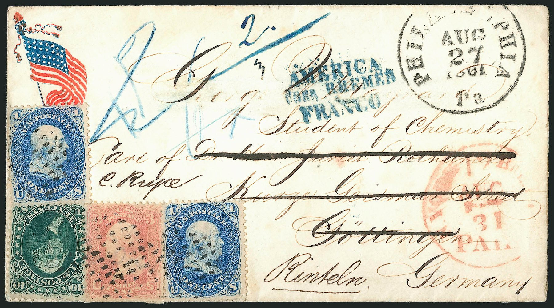 Value of US Stamps Scott Cat. 64: 1861 3c Washington. Robert Siegel Auction Galleries, Jun 2015, Sale 1106, Lot 3089
