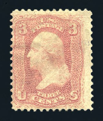 US Stamp Value Scott Cat. 64: 3c 1861 Washington. Harmer-Schau Auction Galleries, Aug 2015, Sale 106, Lot 1383