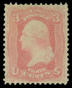 US Stamps Price Scott Catalogue 64: 1861 3c Washington. Daniel Kelleher Auctions, May 2015, Sale 669, Lot 2493