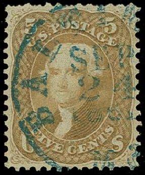 Prices of US Stamp Scott Catalog 67 - 1861 5c Jefferson. H.R. Harmer, Jun 2015, Sale 3007, Lot 3131