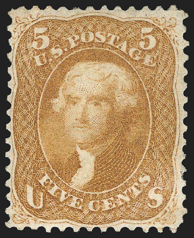 Values of US Stamp Scott Catalog # 67 - 1861 5c Jefferson. Robert Siegel Auction Galleries, Jul 2015, Sale 1107, Lot 124