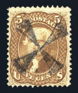 Prices of US Stamps Scott #67 - 5c 1861 Jefferson. Harmer-Schau Auction Galleries, Aug 2015, Sale 106, Lot 1395