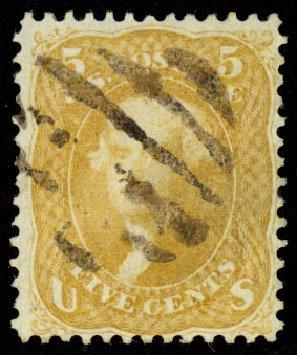 Costs of US Stamp Scott Catalogue #67 - 5c 1861 Jefferson. Daniel Kelleher Auctions, Aug 2015, Sale 672, Lot 2255