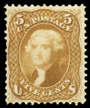 Prices of US Stamp Scott # 67 - 5c 1861 Jefferson. Daniel Kelleher Auctions, Aug 2015, Sale 672, Lot 2252