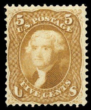 Prices of US Stamp Scott # 67 - 5c 1861 Jefferson. Daniel Kelleher Auctions, Aug 2015, Sale 672, Lot 2252