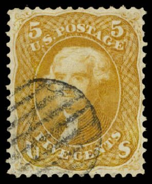 Cost of US Stamps Scott Catalog # 67 - 1861 5c Jefferson. Daniel Kelleher Auctions, Aug 2015, Sale 672, Lot 2253