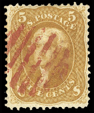 Value of US Stamps Scott # 67 - 1861 5c Jefferson. Cherrystone Auctions, Jul 2015, Sale 201507, Lot 36