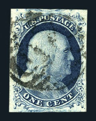 Costs of US Stamp Scott Catalog # 7: 1851 1c Franklin. Harmer-Schau Auction Galleries, Aug 2015, Sale 106, Lot 1267