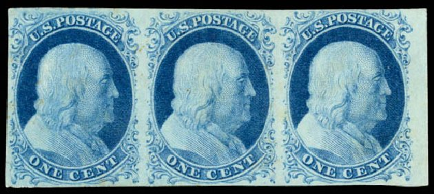 Costs of US Stamps Scott Catalogue 7: 1851 1c Franklin. Daniel Kelleher Auctions, Aug 2015, Sale 672, Lot 2127