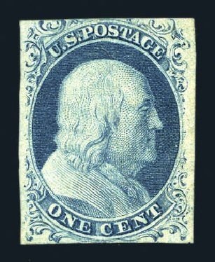Value of US Stamp Scott Catalogue #7: 1851 1c Franklin. Harmer-Schau Auction Galleries, Aug 2015, Sale 106, Lot 1261