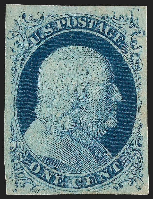US Stamp Prices Scott Catalog 7 - 1851 1c Franklin. Robert Siegel Auction Galleries, Jul 2015, Sale 1107, Lot 54