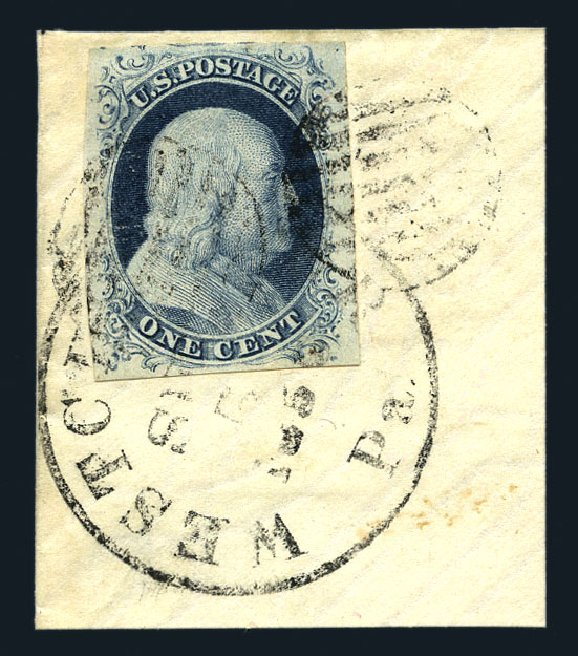 US Stamp Values Scott Cat. 7: 1c 1851 Franklin. Harmer-Schau Auction Galleries, Aug 2015, Sale 106, Lot 1265