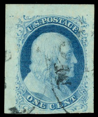 US Stamp Values Scott Catalogue # 7 - 1851 1c Franklin. Daniel Kelleher Auctions, Aug 2015, Sale 672, Lot 2125