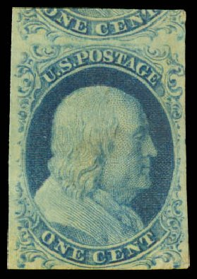 US Stamps Values Scott Catalogue #7: 1851 1c Franklin. Daniel Kelleher Auctions, Aug 2015, Sale 672, Lot 2123