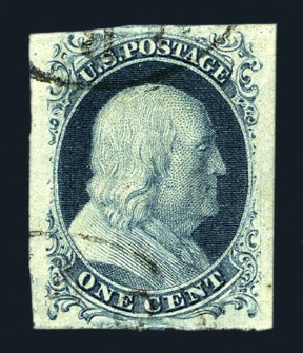 Value of US Stamps Scott Catalog # 7 - 1851 1c Franklin. Harmer-Schau Auction Galleries, Aug 2015, Sale 106, Lot 1266