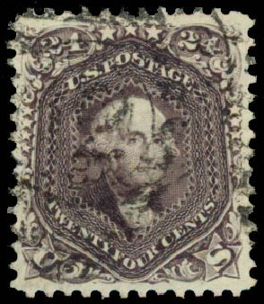 Cost of US Stamps Scott #70: 24c 1861 Washington. Daniel Kelleher Auctions, Aug 2015, Sale 672, Lot 2257
