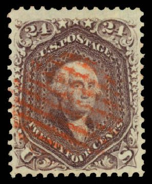 Values of US Stamps Scott Cat. # 70 - 24c 1861 Washington. Daniel Kelleher Auctions, Aug 2015, Sale 672, Lot 2258