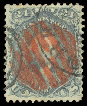 US Stamps Value Scott Cat. # 70: 24c 1861 Washington. Daniel Kelleher Auctions, Aug 2015, Sale 672, Lot 2261