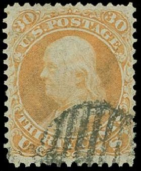 US Stamp Prices Scott Catalog 71 - 1861 30c Franklin. H.R. Harmer, Jun 2015, Sale 3007, Lot 3139