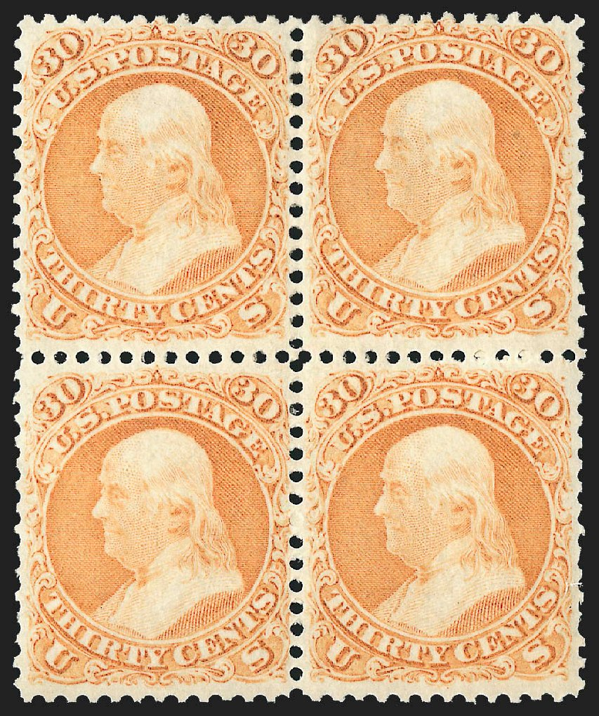 US Stamp Values Scott Catalog 71: 1861 30c Franklin. Robert Siegel Auction Galleries, Jul 2015, Sale 1107, Lot 129