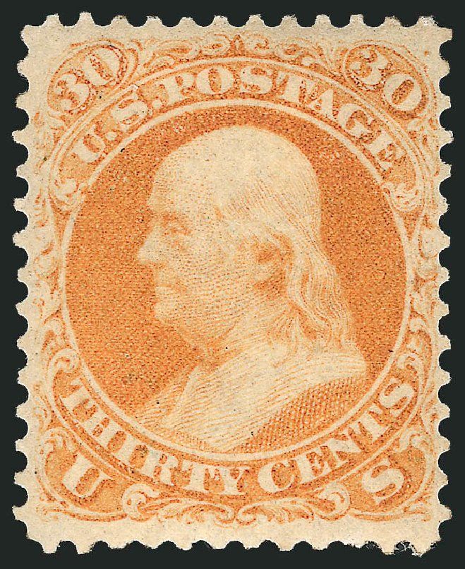 Cost of US Stamp Scott Catalog #71 - 1861 30c Franklin. Robert Siegel Auction Galleries, Apr 2015, Sale 1096, Lot 140