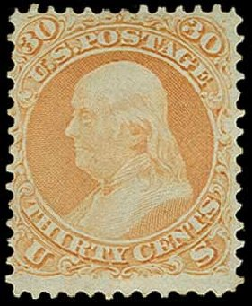 Price of US Stamp Scott Catalogue 71 - 30c 1861 Franklin. H.R. Harmer, Jun 2015, Sale 3007, Lot 3141