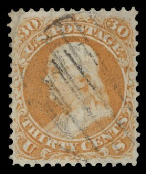 US Stamps Values Scott Catalogue 71 - 1861 30c Franklin. Daniel Kelleher Auctions, May 2015, Sale 669, Lot 2514
