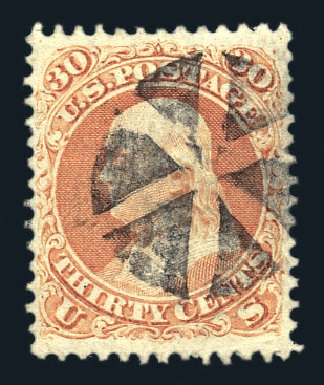 Price of US Stamp Scott Catalogue 71 - 30c 1861 Franklin. Harmer-Schau Auction Galleries, Aug 2015, Sale 106, Lot 1403