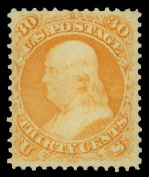 US Stamp Price Scott Catalogue #71: 30c 1861 Franklin. Daniel Kelleher Auctions, May 2015, Sale 669, Lot 2513