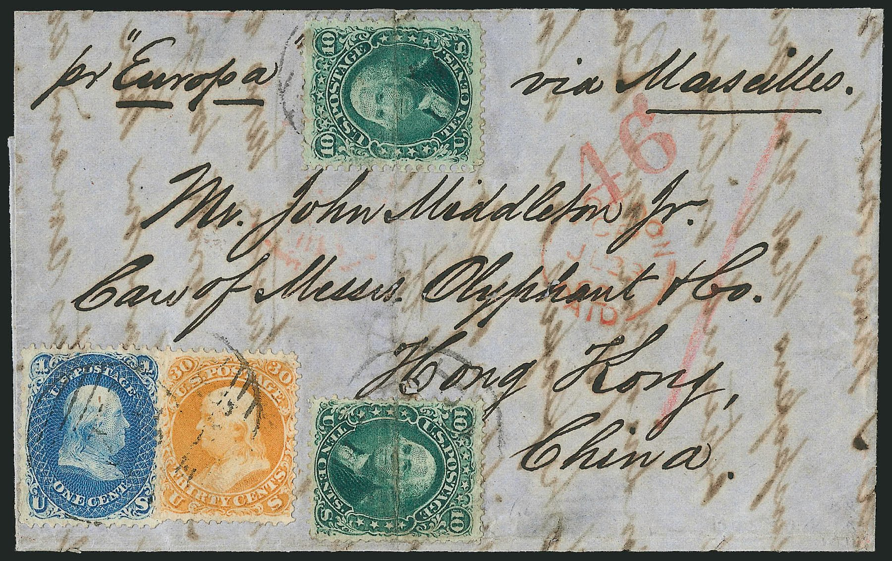 Values of US Stamps Scott Cat. # 71: 1861 30c Franklin. Robert Siegel Auction Galleries, Jun 2015, Sale 1106, Lot 3096
